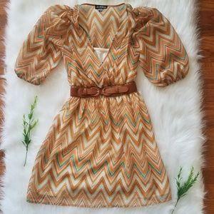 As U Wish Dresses - As U Wish Chevron dress with belt
